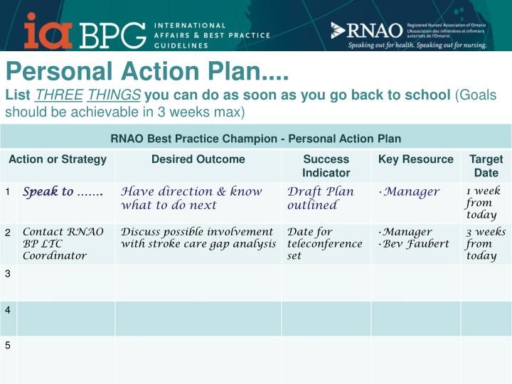 Personal Action Plan....