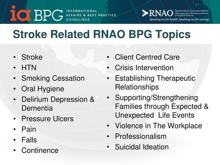 Stroke Related RNAO BPG Topics