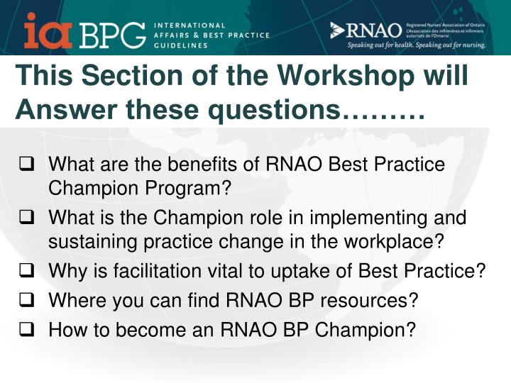 This Section of the Workshop will Answer these questions………