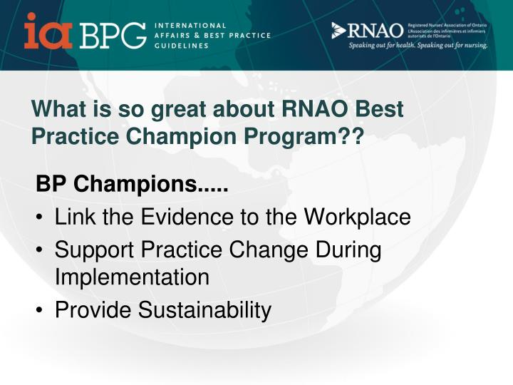 What is so great about RNAO Best Practice Champion Program??