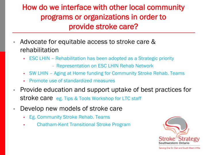 How do we interface with other local community programs or organizations in order to