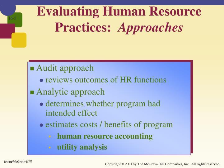 Evaluating Human Resource Practices: