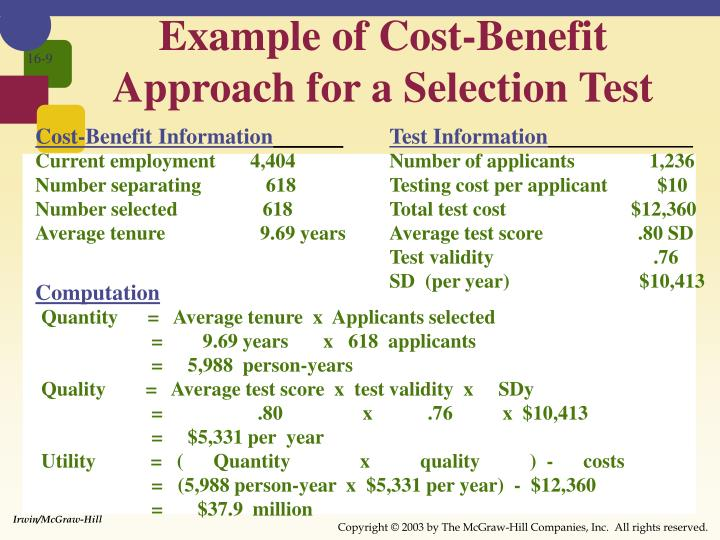 Example of Cost-Benefit Approach for a Selection Test