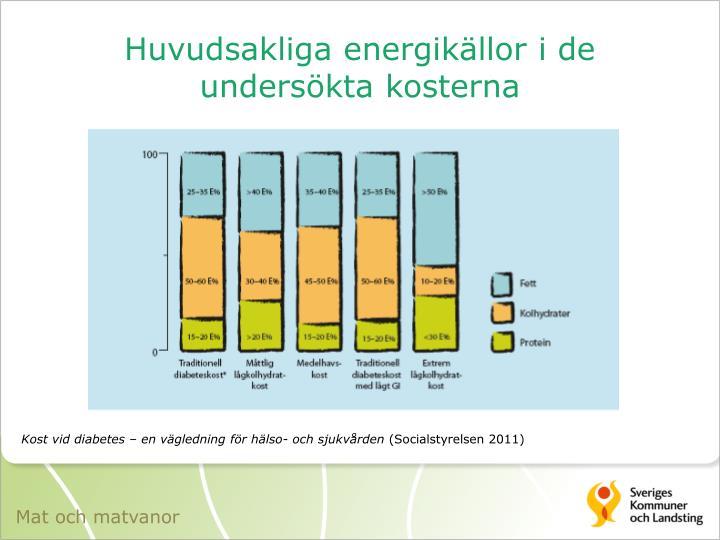 Huvudsakliga energikällor i de undersökta kosterna