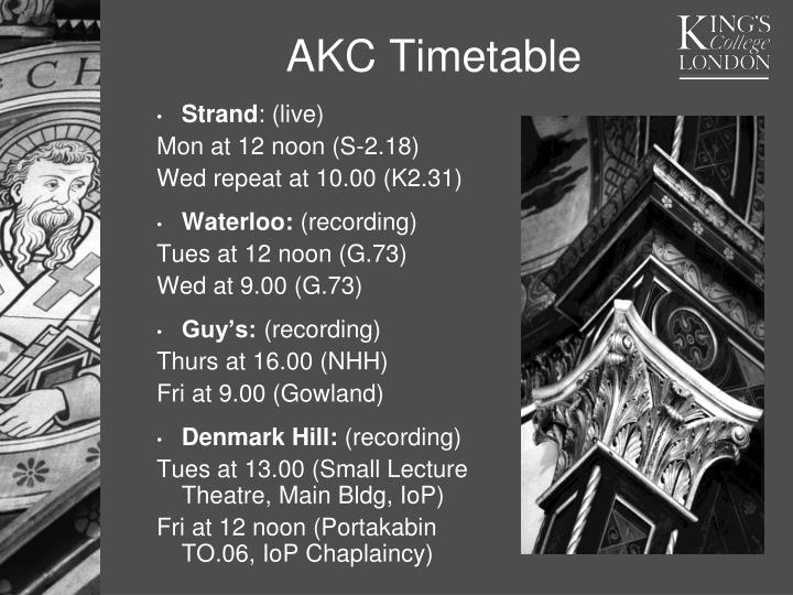 AKC Timetable