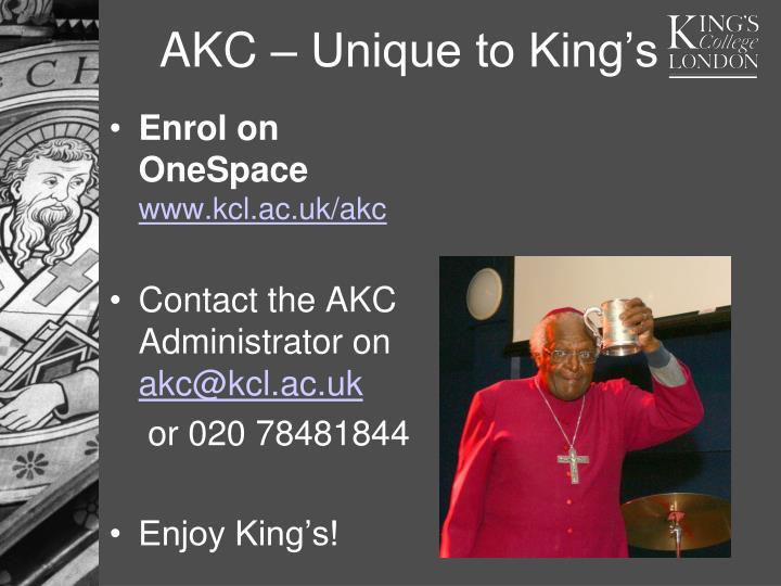 AKC – Unique to King's