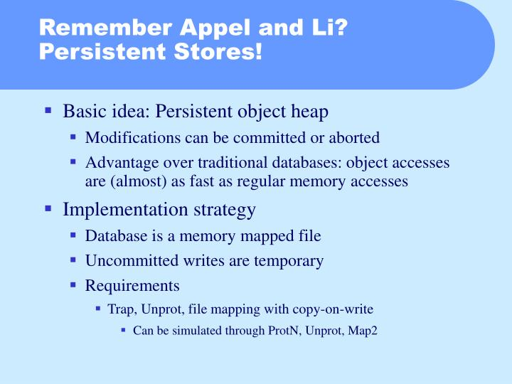 Remember Appel and Li? Persistent Stores!