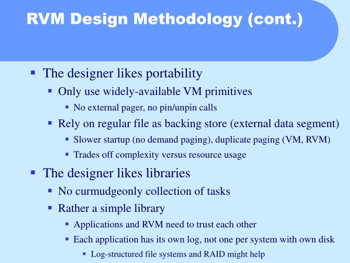 RVM Design Methodology (cont.)