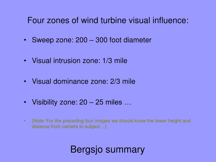 Four zones of wind turbine visual influence: