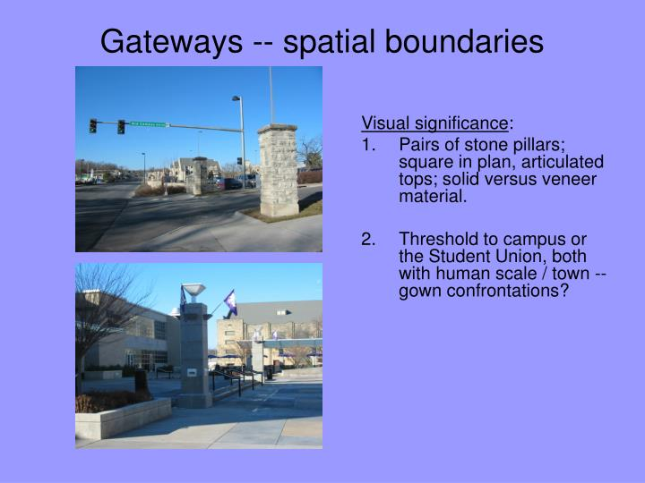 Gateways -- spatial boundaries