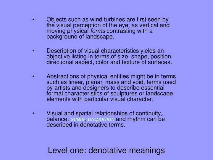 Level one: denotative meanings