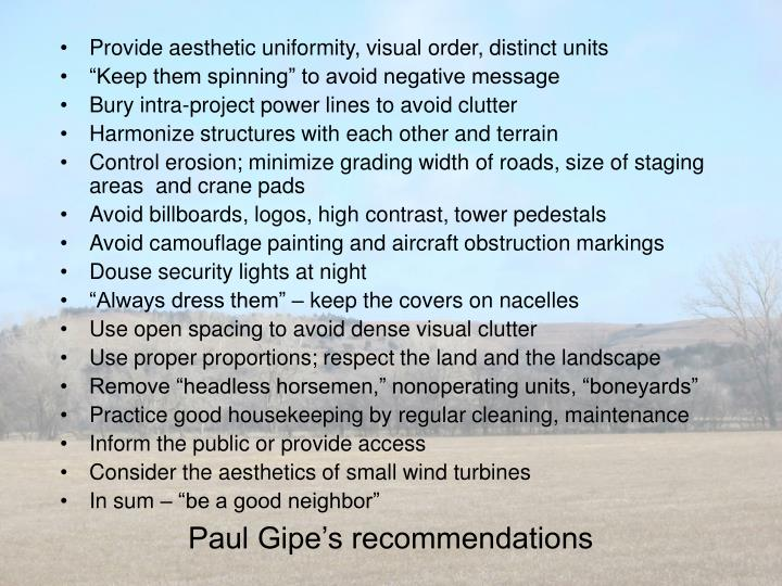 Paul Gipe's recommendations