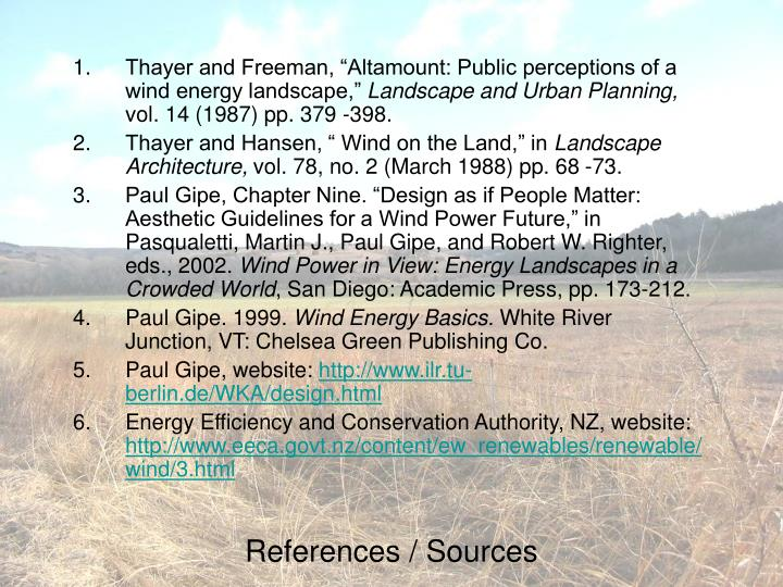 """Thayer and Freeman, """"Altamount: Public perceptions of a wind energy landscape,"""""""