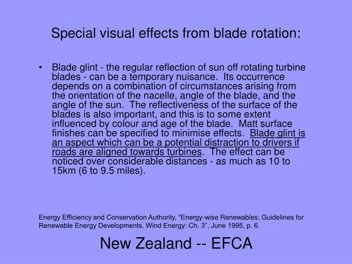 Special visual effects from blade rotation: