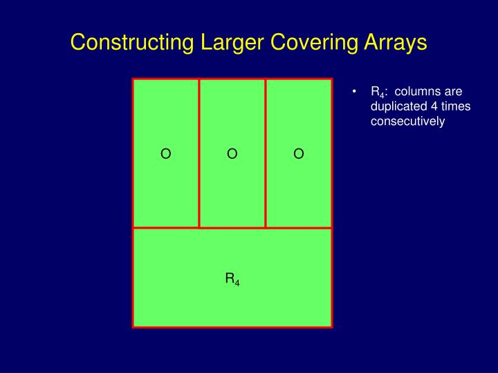 Constructing Larger Covering Arrays