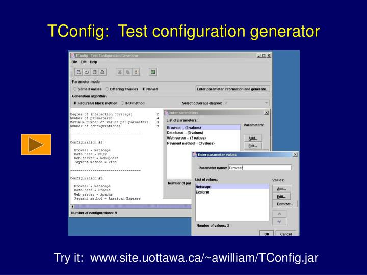 TConfig:  Test configuration generator