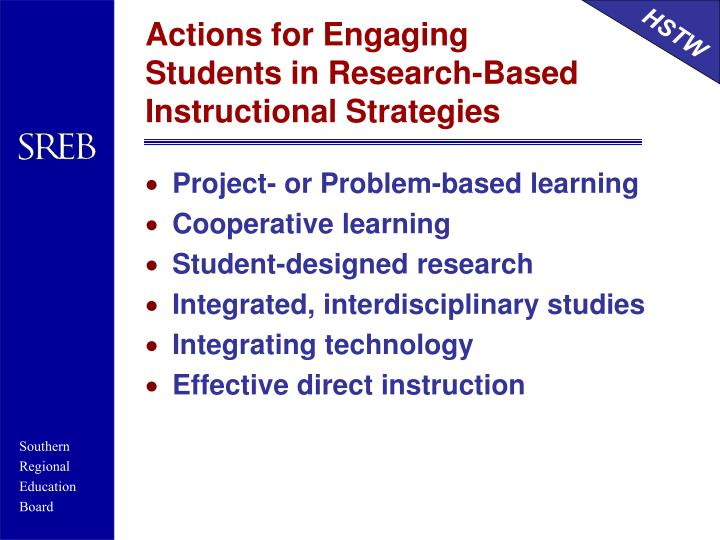 Actions for Engaging Students in Research-Based Instructional Strategies