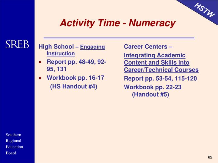 Activity Time - Numeracy