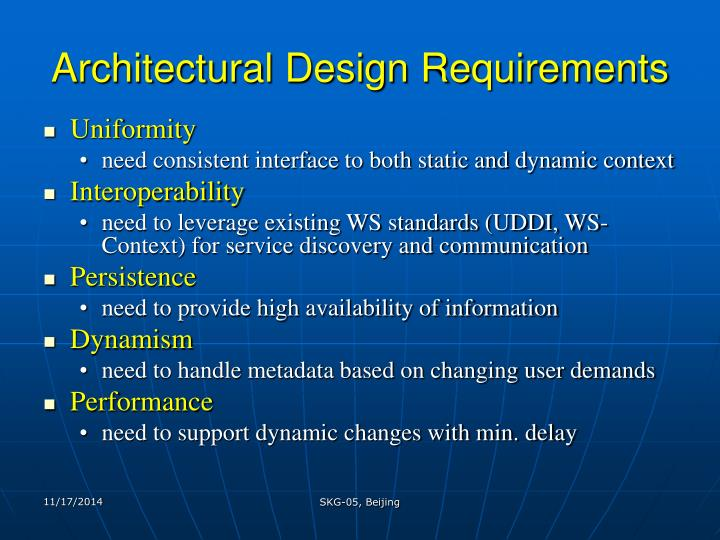 Architectural Design Requirements