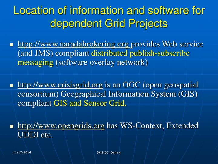 Location of information and software for dependent Grid Projects