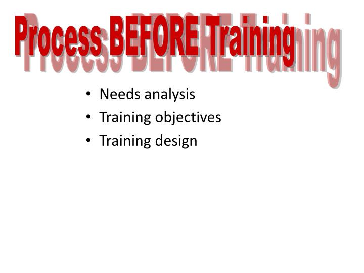 Process BEFORE Training