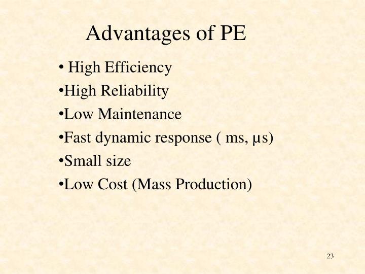 Advantages of PE