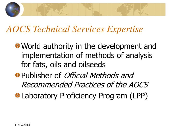 AOCS Technical Services Expertise