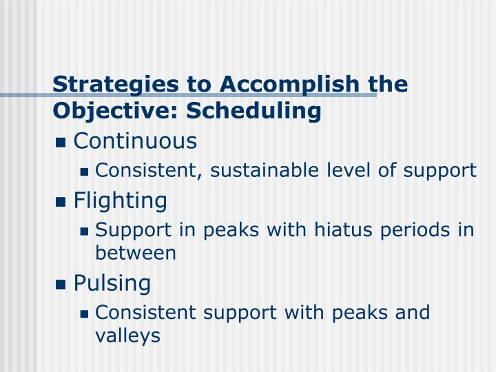 Strategies to Accomplish the Objective: Scheduling