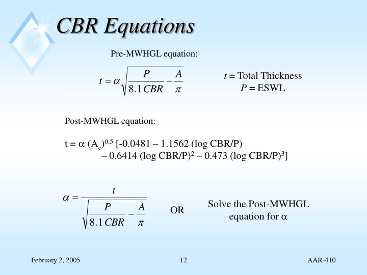 CBR Equations