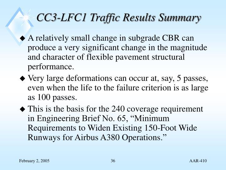 CC3-LFC1 Traffic Results Summary
