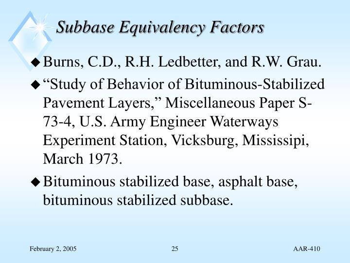 Subbase Equivalency Factors