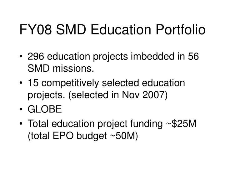 FY08 SMD Education Portfolio