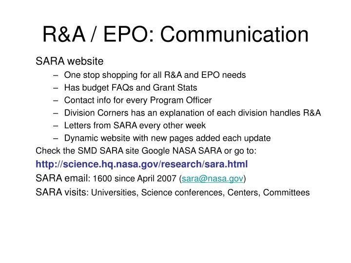 R&A / EPO: Communication