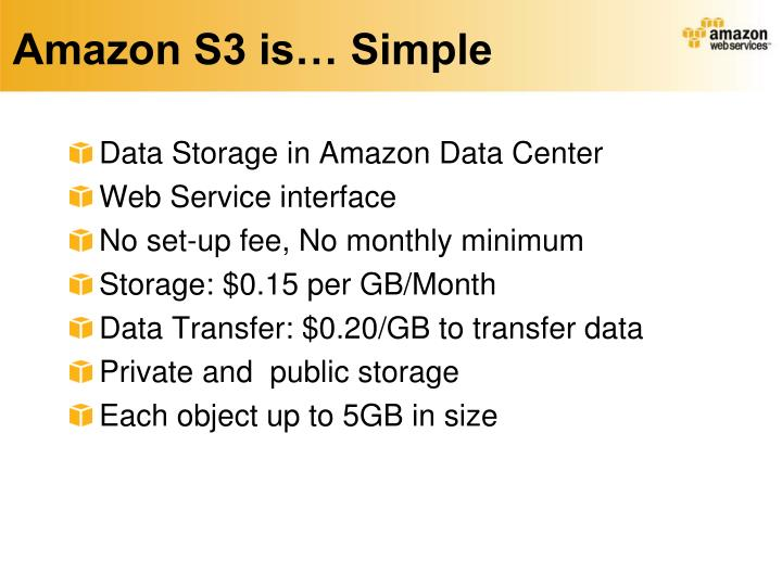 Amazon S3 is… Simple