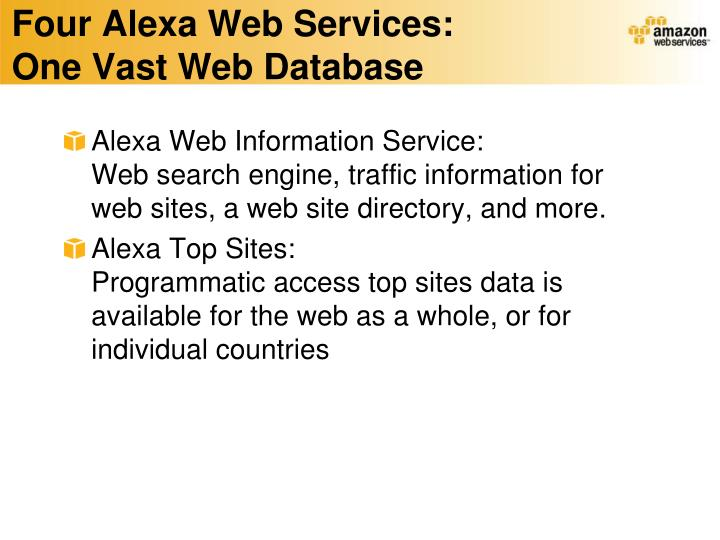 Four Alexa Web Services: