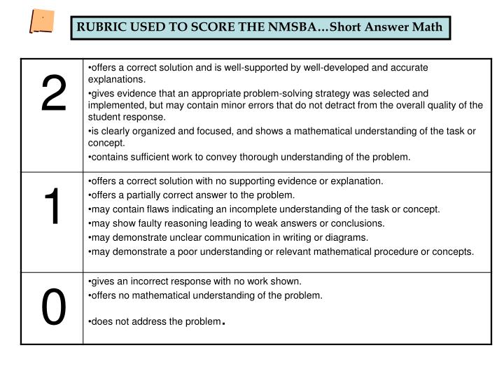 RUBRIC USED TO SCORE THE NMSBA…Short Answer Math
