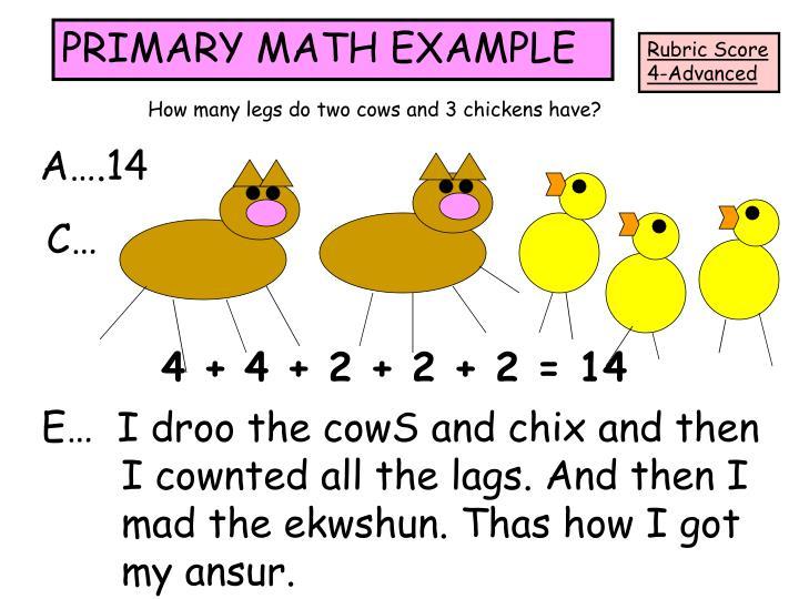 PRIMARY MATH EXAMPLE