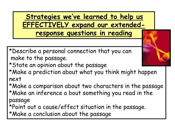 Strategies we've learned to help us