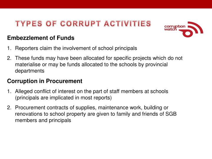 TYPES OF CORRUPT ACTIVITIES