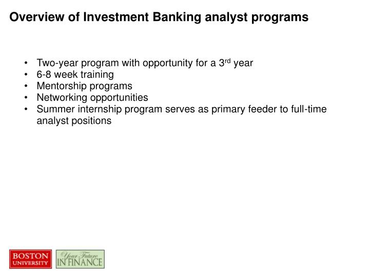 Overview of Investment Banking analyst programs