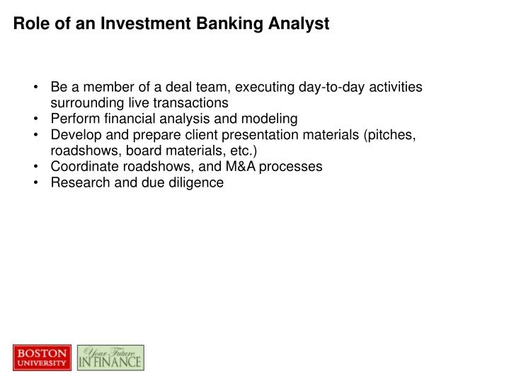 Role of an Investment Banking Analyst