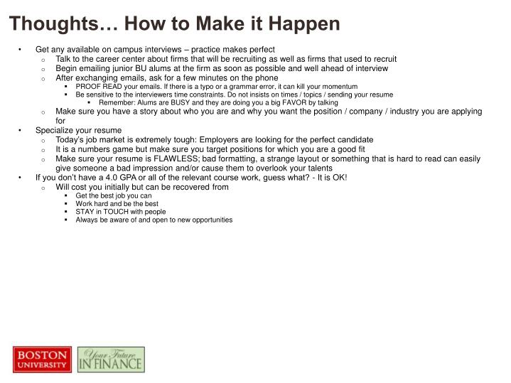 Thoughts… How to Make it Happen