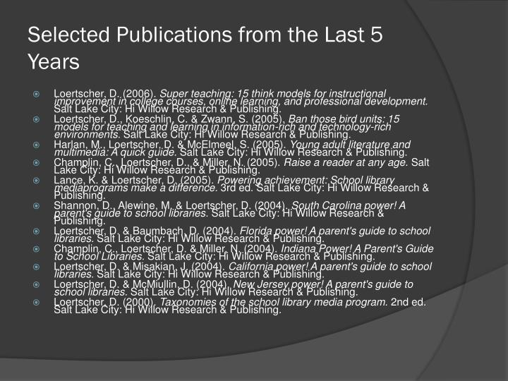 Selected Publications from the Last 5 Years