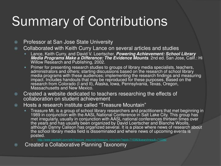 Summary of Contributions