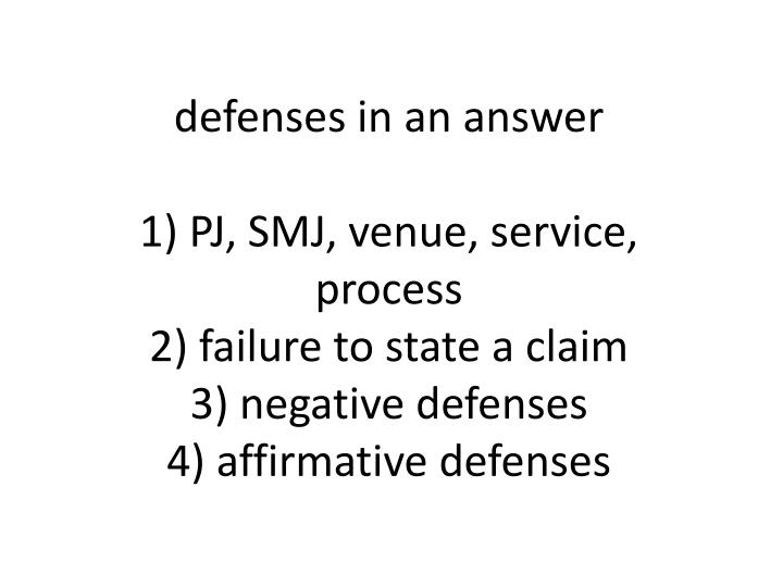 defenses in an answer