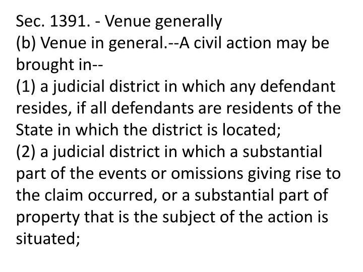 Sec. 1391. - Venue generally