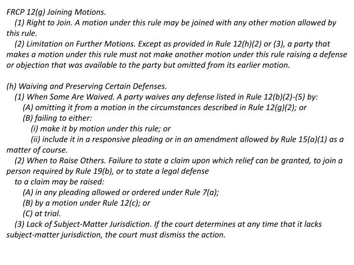FRCP 12(g) Joining Motions.