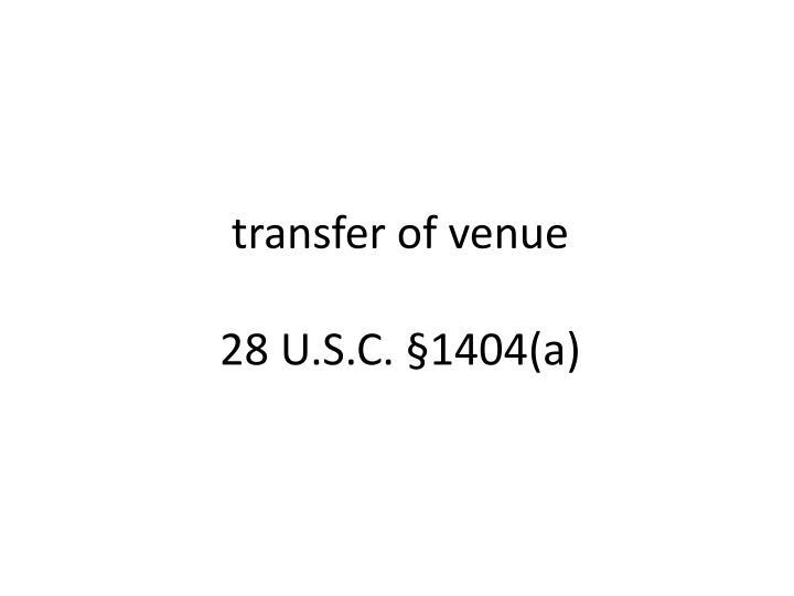 transfer of venue