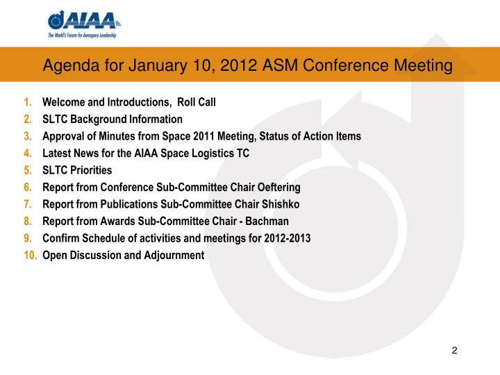 Agenda for January 10, 2012 ASM Conference Meeting
