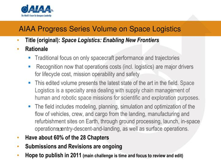AIAA Progress Series Volume on Space Logistics